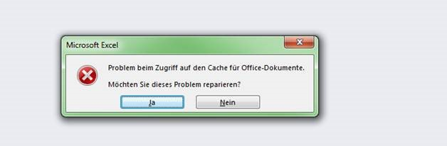Office 2013 Cache Fehler