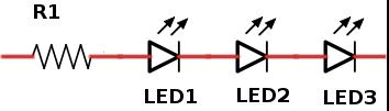mehrere LEDs mit einem Vorwiderstand
